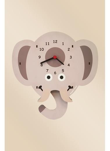 Peoples Clock Yavru Fil Sallanan Sarkaçlı Çocuk Odası Duvar Saati Renkli